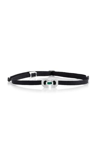 Medium nikos koulis green yesterday ribbon bracelet with emerald baguette