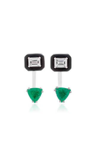 Medium nikos koulis green oui earring jackets with emerald cut white diamonds and emeralds