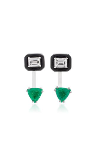 Medium nikos koulis green oui earring jackets with emerald cut white diamonds and emeralds