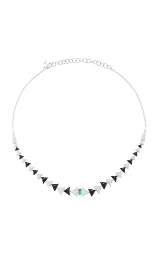 Medium nikos koulis green v necklace with pave white diamonds emerald and black enamel