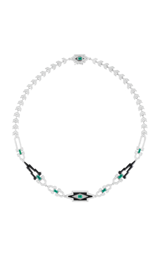 Medium nikos koulis green yesterday necklace with pave white diamonds emerald baguettes and black enamel
