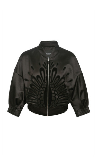 Medium yanina demi couture black bomber jacket