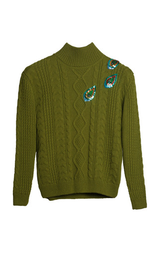 Medium yanina demi couture green embellished cable knit turtleneck