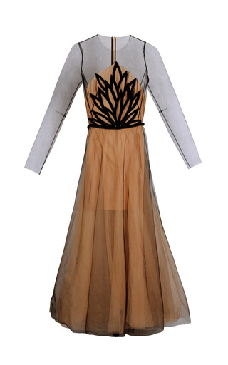Medium yanina demi couture neutral long sleeve illusion gown