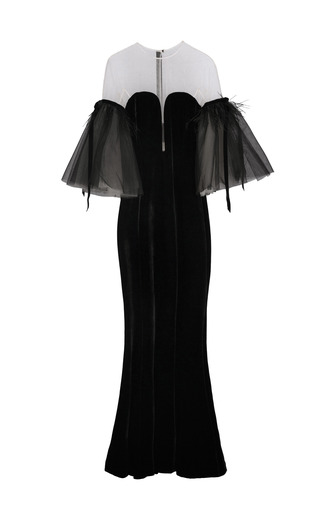 Medium yanina demi couture black illusion off the shoulder gown