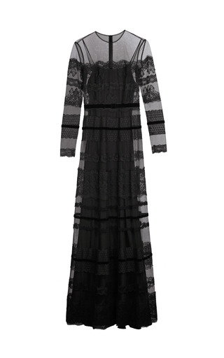 Medium yanina demi couture black long sleeve lace gown