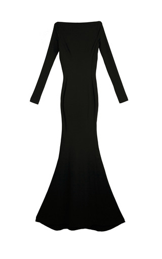 Medium yanina demi couture black illusion long sleeve gown