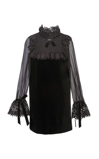 Medium yanina demi couture black ruffled lace mini dress
