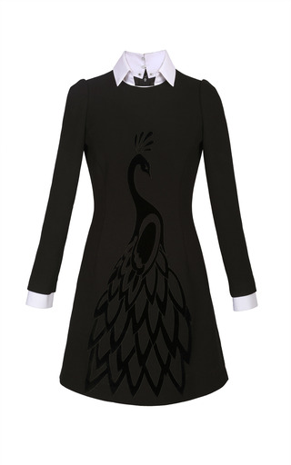 Medium yanina demi couture black peacock long sleeve shirtdress