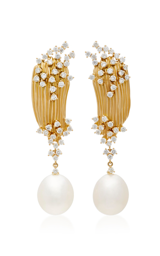 Moda Operandi Plisse 18k Gold Diamond And Pearl