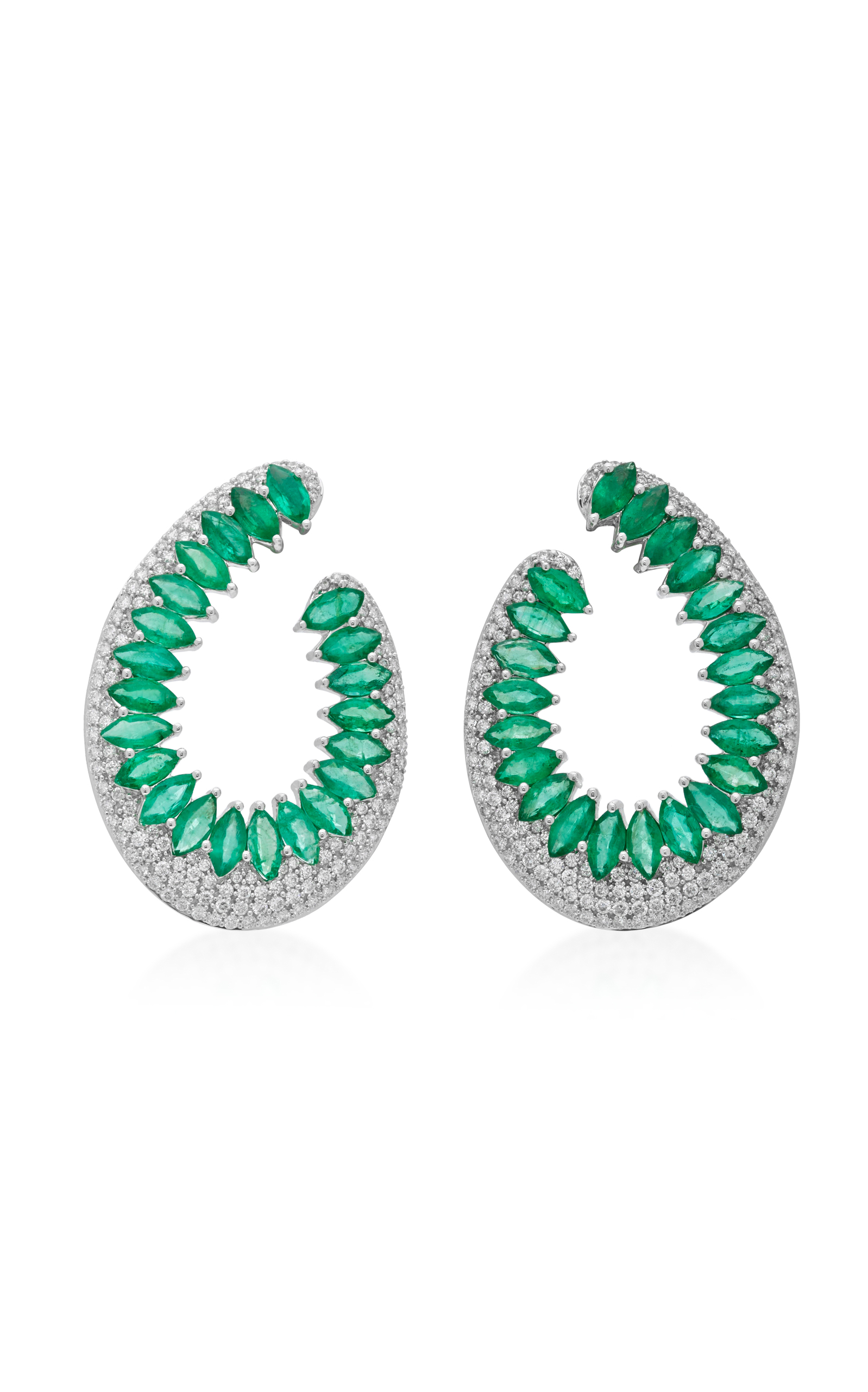 of graff pair featuring earrings collections cushion jewellery a diamond hooks and cut pave emerald emeralds with classic swan