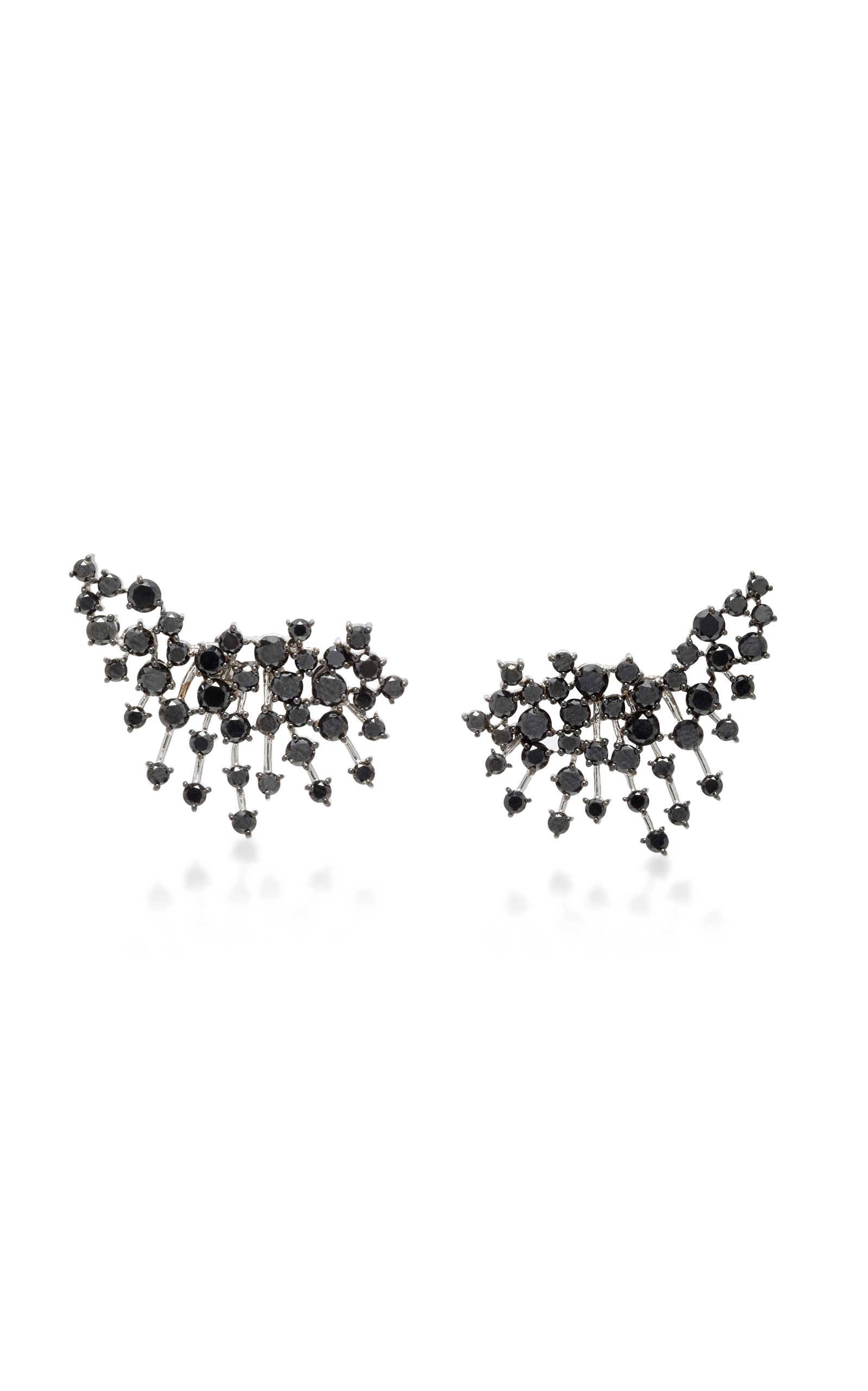 White Gold Black Diamond Earrings Close Loading