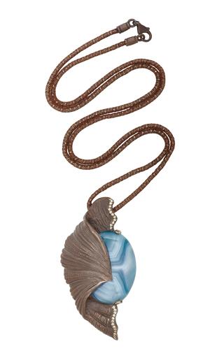 Medium luz camino blue fern pendant