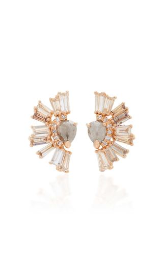 Medium nak armstrong brown roman studs in champagne and rustic white diamond