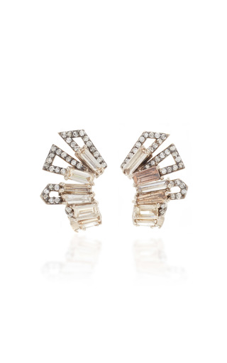 Medium nak armstrong white roman helmet ear clips in champagne and white diamond