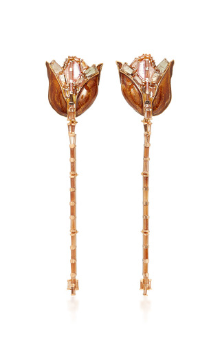 Medium nak armstrong brown tulip and stem drop earrings