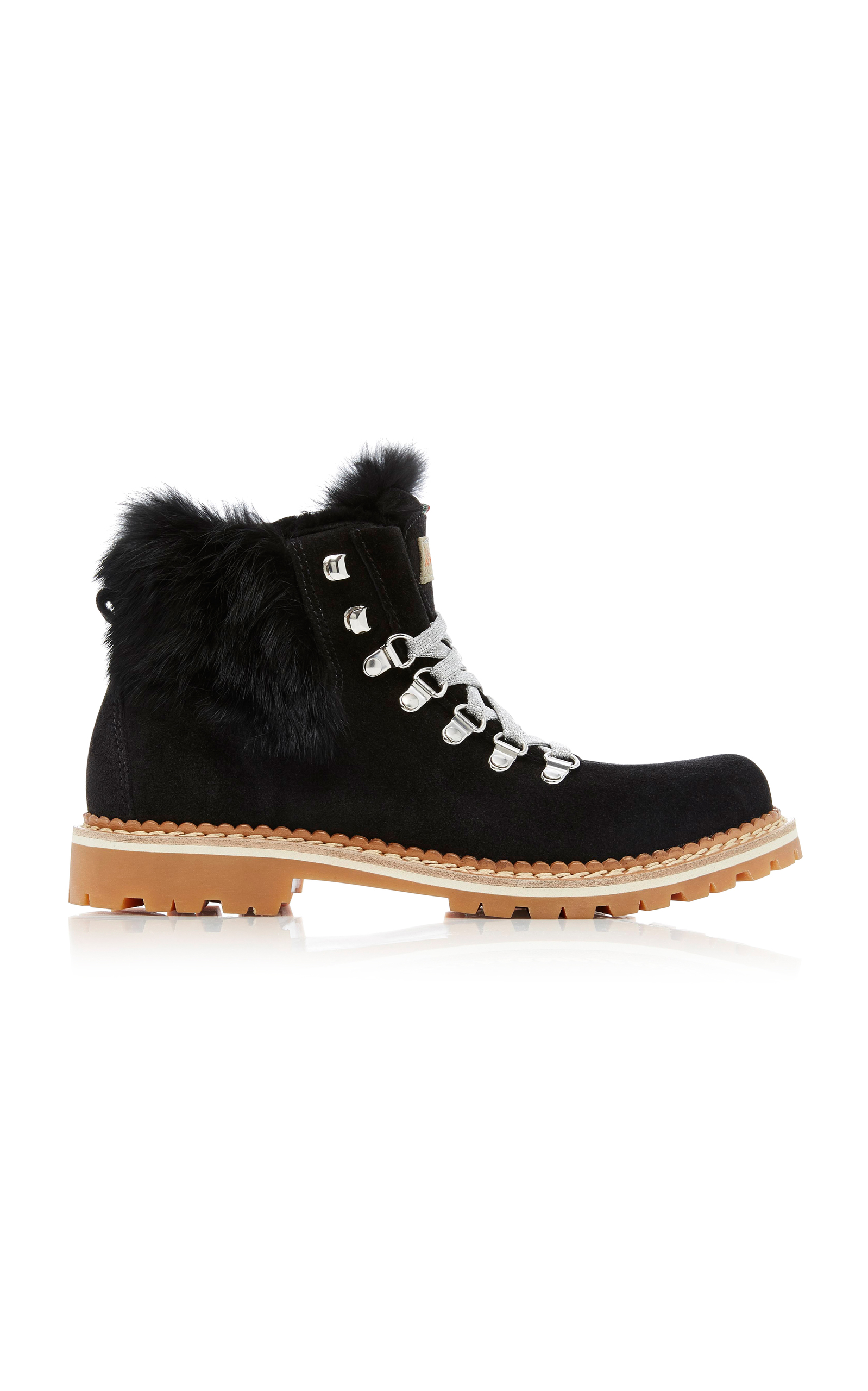 Camelia Fur-Trimmed Suede Lace-Up BootsMontelliana