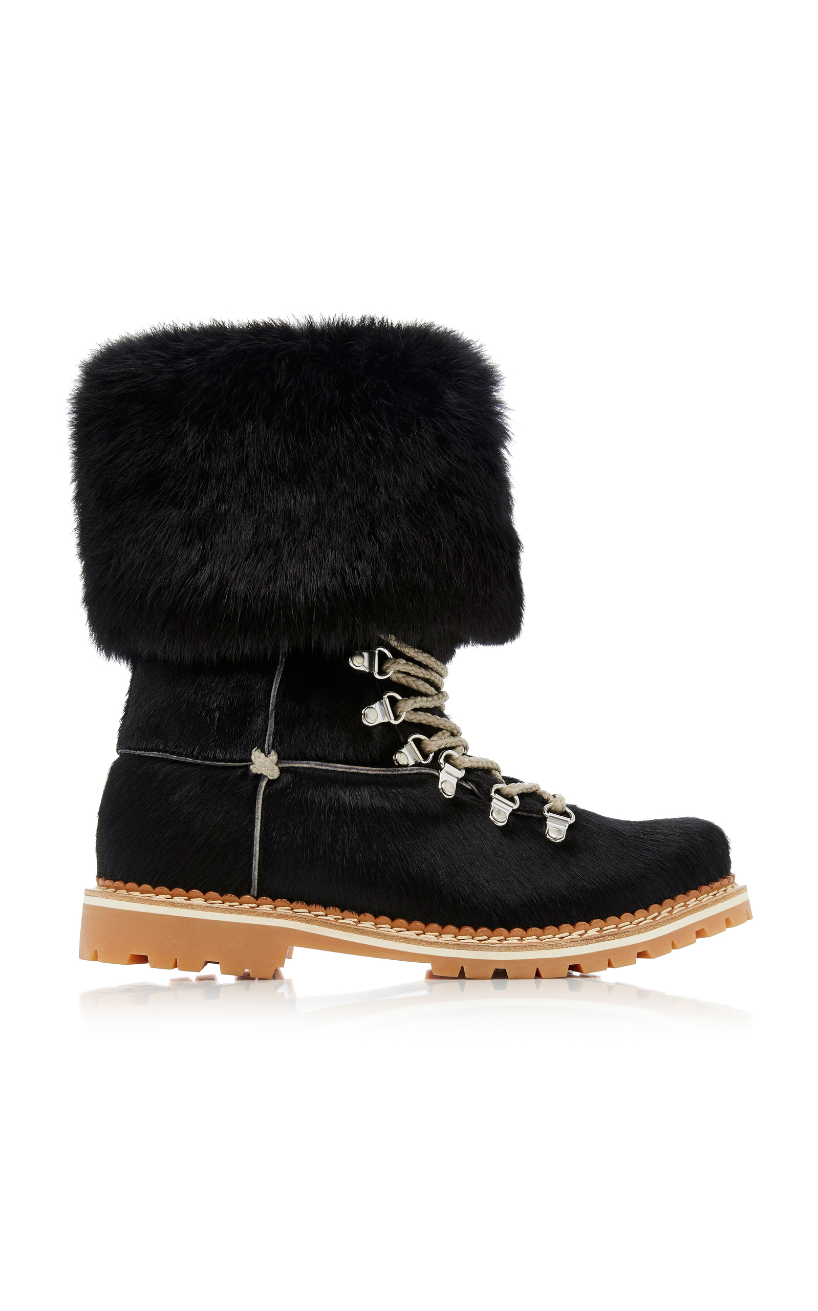 Fur-Trimmed Suede Lace-Up Boots Montelliana Cheap Sale Real Low Price Fee Shipping Cheap Price g9pVuS