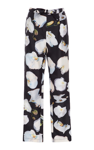 Medium jonathan cohen print abstract orchid silk pants