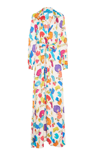 Medium jonathan cohen print abstract orchids robe dress