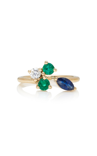 Medium holly dyment green mid ring with blue sapphire and emerald