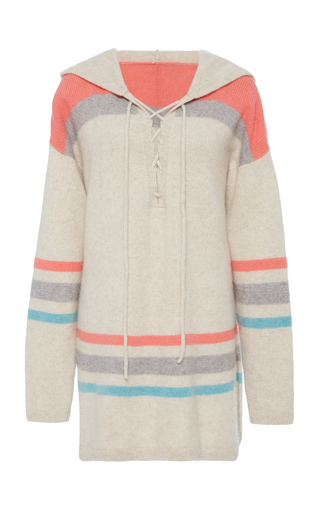 Medium the elder statesman grey lace up hooded pullover