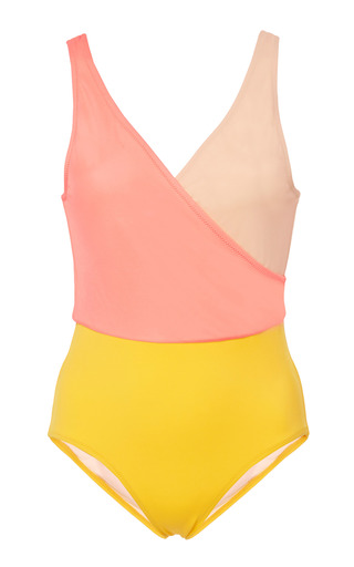 Medium solid striped pink ballerina colorblocked swimsuit