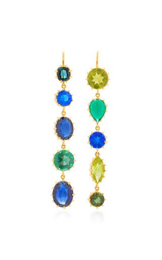 Medium renee lewis blue antique peridot emerald sapphire tourmaline earrings