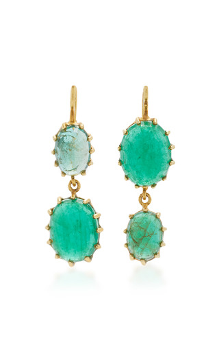 Medium renee lewis green antique emerald earrings