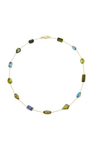 Medium renee lewis multi antique tourmaline sapphire peridot blue quartz stone chain necklace
