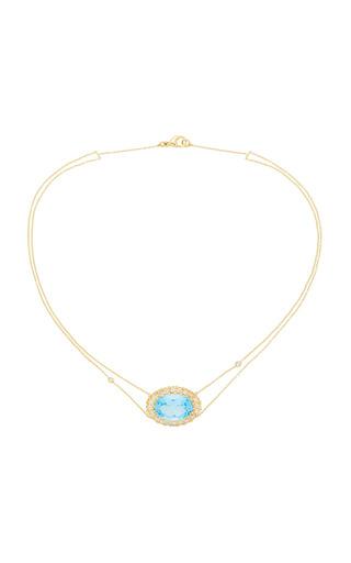 Medium renee lewis blue diamond rimmed antique blue topaz necklace