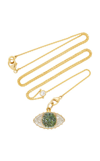 Medium renee lewis green green and white diamond third eye shake necklace on y chain