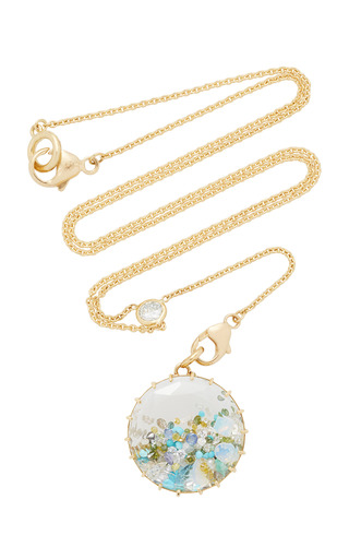 Medium renee lewis blue opal aqua turquoise white and colored diamond shake necklace