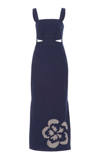 Medium sissa navy rute geometric cutout maxi dress