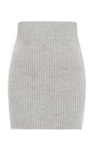 Medium nanna van blaaderen grey grey melange ribbed knit mini skirt