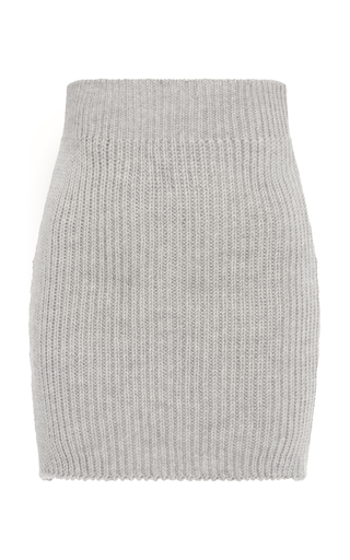 Medium nanna van blaaderen grey grey melange ribbed knit mini skirt
