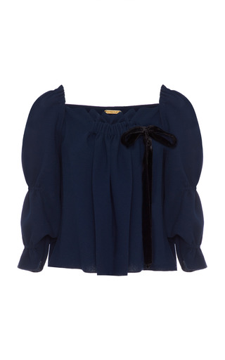 Medium amelia toro navy wool crepe ruched top