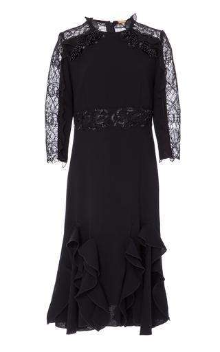 Medium amelia toro black bread embroidered wool and lace dress