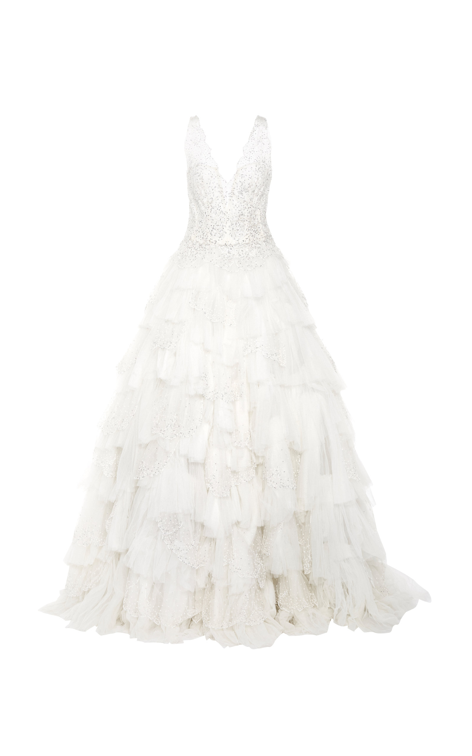 ISABELLE ARMSTRONG The Izzy Beaded Tulle Gown in White
