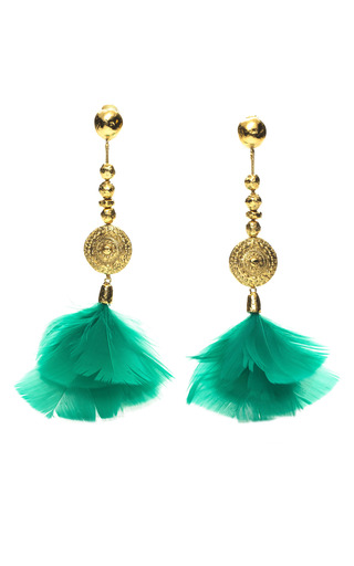 Medium aurelie bidermann green cites dor feather earrings