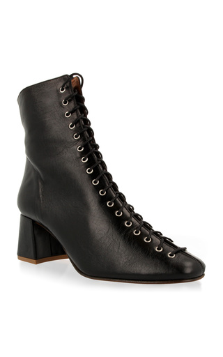 Medium by far black becca lace up leather boot