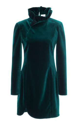 Medium maison di prima green marica ruffled collar dress