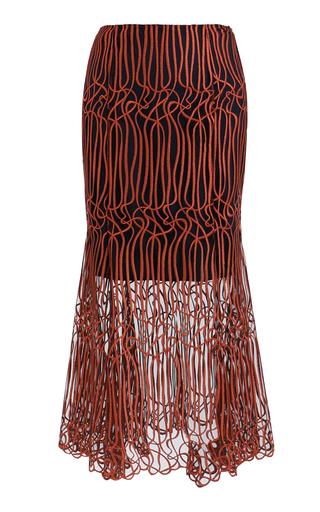 Medium ginger smart red gloria fluted midi skirt