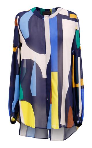 Medium ginger smart print simone round neck blouse