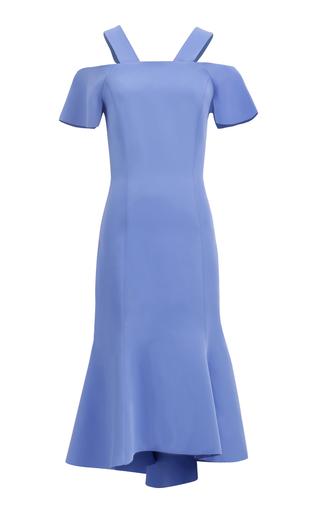 Medium ginger smart blue carmen fluted cold shoulder dress