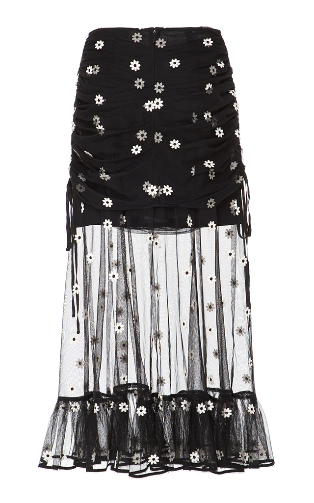 ALICE MCCALL Woman Lace-Up Ruched Embroidered Tulle Midi Skirt Black in Black Daisy