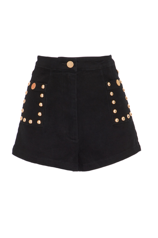Medium alice mccall black lonely hearts button shorts