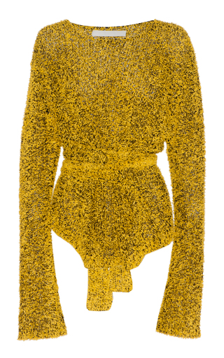 Medium dion lee yellow paper yarn pullover