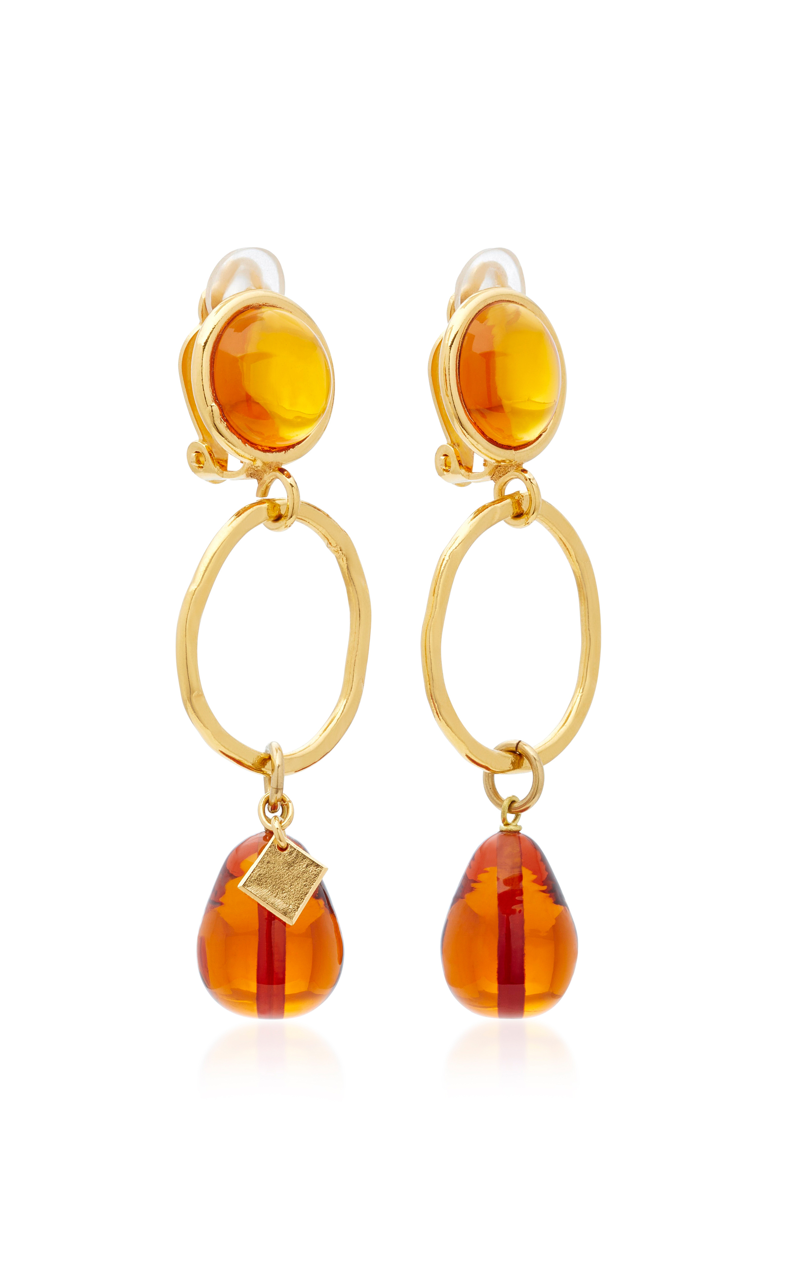 24k De Cristal Y Piedra Pendientes Chapados En Oro Loulou De La Falaise UzRlc4