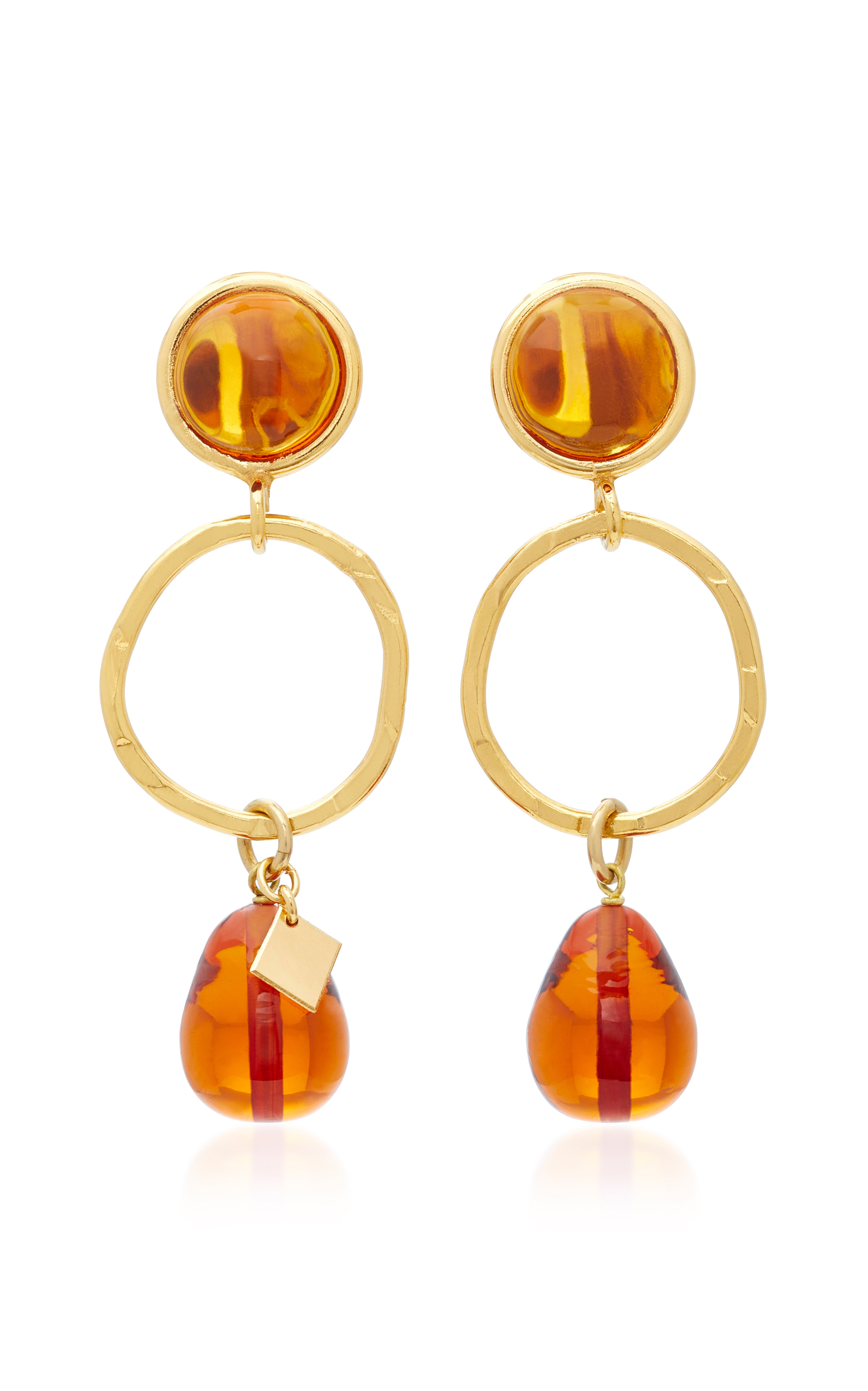 24K Gold-Plated Crystal Earrings Loulou De La Falaise kK0SDJI5T7